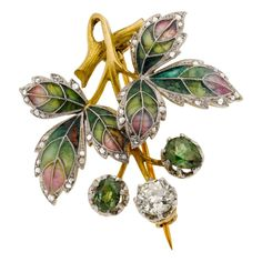Art Nouveau Diamond, Demantoid Garnet, Plique-à-Jour Enamel, Platinum-Topped Gold Brooch, August Wilhelm Holström, Fabergé Workmaster