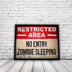 Zombie Poster, A3 print, wall art, zombie, horror, decor, gift, teen, birthday, bedroom: Amazon.co.uk: Kitchen & Home