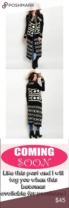"""Now available! Long tribal print cardigan Long sleeve open drape front extra long tribal sweater knit cardigan in black and cream. Fabric Content: 100% ACRYLIC. measurements for a size small: L: 39"""" B: 36"""" W: 32"""". ONLY CONSIDERING OFFERS THROUGH THE """"OFFER"""" BUTTON. No trades, no off App transactions. Any questions can be addressed below. Available: 3 S/M, 3 M/L. Sweaters Cardigans"""