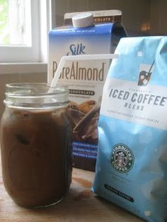 New Nostalgia: Easy 3 Ingredient Chocolate Almond Iced Latte. (Made this with plain almond milk today) Iced Latte, Iced Coffee, Coffee Drinks, Iced Mocha, Chocolate Almond Milk, Dark Chocolate Almonds, Hot Chocolate, Yummy Drinks, Yummy Food
