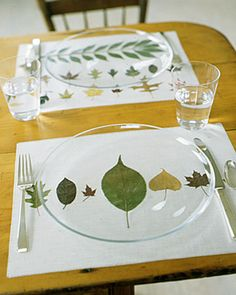 iron on vinyl, pressed leaves from Martha Stewart, of course.