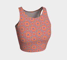 Flower power orange pattern crop top is perfect for your yoga session, the beach or dancing. Printed crop tops pair with our yoga leggings and shorts. Flower Power, Athletic Crop Top, Dance Routines, Orange Pattern, Wedding Moments, Yoga Leggings, Active Wear, Yoga Session, Crop Tops