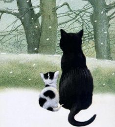Winter, cat and snow in fine art. Paintings with winter cat. I Love Cats, Crazy Cats, Cool Cats, Cat Embroidery, Chat Web, Black Cat Art, Black Cats, Winter Cat, Image Chat