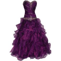 Beaded Bandage Organza Ruffle Ball Gown Prom Dress Bridal ($400) found on Polyvore