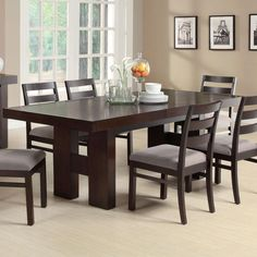 This transitional dining table made of ash solids and hardwoods in cappuccino finish provides easy-going style to your casual or semi-formal dining room. The modern table features clean lines with the substantial H-form double pedestal bases. The pull out Dining Room Sets, Dining Table In Kitchen, Dining Room Furniture, Dining Chairs, Dinning Set, Furniture Decor, Extension Dining Table, Dining Table Design, Modern Dining Table