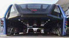The 2m-high Transit Elevated Bus took its inaugural test run in the streets of Hebei, much to the amazement of Chinese citizens.