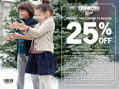 Exclusive coupon from our friends at Osh Kosh B'Gosh gives you 25% off online or in store purchases of $30 or more. Amazing deal! #IC #GiveHappy #ad
