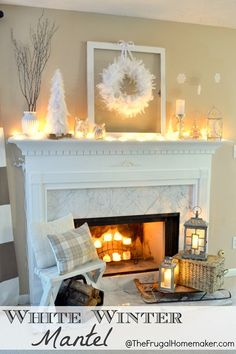 Mantel decorating idea...not really an all white fan, but love the sled and lanterns!