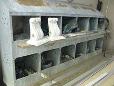 Love this idea. Metal nesting boxes for garage organization. Chicken Laying Boxes, Chicken Boxes, Chicken Nesting Boxes, Metal Chicken, Box Bedroom, Bedroom Ideas, Funky Junk Interiors, Garage Organization, Garage Storage