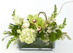 This rectangle glass vase elegantly presents the stylish flowers. Included in the arrangement are white snapdragons, white hydrangea, green cymbidium blooms, green trachelium, seeded eucalyptus, white waxflower and green hypericum berries.