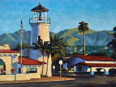 Santa Barbara Landscape Painting  Faux Lighthouse  by sharonschock, $350.00
