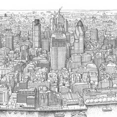 Detail of the view north across to the city of london and its shiny new skyscrapers. the 'walkie talkie' fenchurch street) is shown under construction, City Of London, Palace London, Central London Map, Village Map, University Of Westminster, City Drawing, London Landmarks, Bristol Board, List Of Artists
