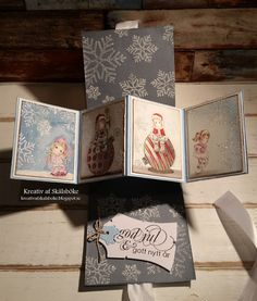 Creative of Skälsböke: Different folding on Christmas Magnolia Stamps, Christmas Cards, Card Making, Cover, How To Make, Magnolias, Inspiration, Scrapbooking, Box