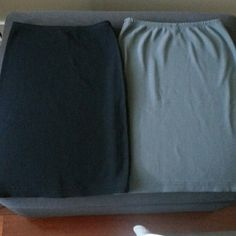 American Apparel Ribbed skirts-NWOT Two stretchy ribbed skirts in black and medium grey. Never worn and in excellent condition.  Marked M but fit more like small or size 4.  Can be worn sporty because of ribbed fabric.  Fun above the knee length without being too short.  Made in USA.  Will sell separately for $20 each. American Apparel Dresses