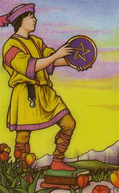 Page of Pentacles card from the Connolly Tarot Deck King Of Swords Tarot, Page Of Pentacles, Capricorn And Virgo, Modern Deck, Experiential Learning, Tarot Card Meanings, Oracle Cards, Tarot Reading, Tarot Decks