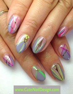 Neon x Grey Nails like the colors do not like the pointed nail shape Fabulous Nails, Gorgeous Nails, Pretty Nails, Hot Nails, Hair And Nails, Geometric Nail, Gray Nails, Stylish Nails, Cute Nail Designs