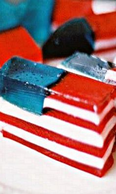 Red, White and Blue Jello Squares - this appears to require some patience to assemble but the result looks very impressive and patriotic.