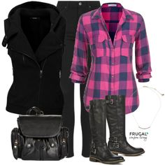 Frugal Fashion Friday Pop of Pink Fall Outfit - we love this pink flannel tob, bllack vest, black jeans, black boots and black handbag - the perfect outfit of the day for Fall (or winter!)