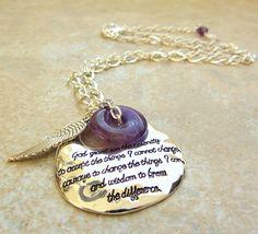 Serenity Prayer Necklace with Amethyst / by OnLemonberryLane