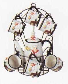 Amazon.com: ITALIAN CHEF 9pc TEA Set Pot & Cups w/Iron Rack NEW!: Kitchen & Dining