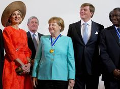 On April 21, 2016, King Willem-Alexander, Queen Maxima and Princess Beatrix of The Netherlands attend the Four Freedoms Award ceremony in the Abdij in Middelburg, The Netherlands. The International Four Freedoms Award is awarded to German chancellor Angela Merkel. Winners of the other awards are Mazen Darwish, Dr. Denis Mukwege, three spiritual leader from central Africa