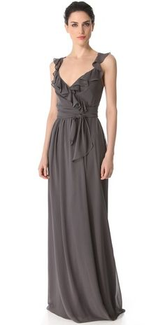 Gorgeous ruffle dress by Joanna August - loving this smokey grey shade!