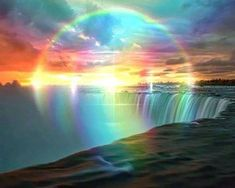 Rainbow God Of My in my Rainbow World of My from Rainbow Naru. Rainbow God Blessings, Peacefulness & Happiness all Filled with my Heart. Beautiful Sky, Beautiful Landscapes, Beautiful World, Beautiful Places, Rainbow Sky, Love Rainbow, Circle Rainbow, Rainbow Waterfall, Rainbow Falls