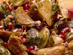 Roasted Brussels Sprouts with Pomegranates and Vanilla-Pecan Butter from FoodNetwork.com