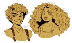 """""""practicing curly hair ft some kiddos """" Oncle Rick, Arte Sketchbook, Cute Art Styles, Wow Art, Fandoms, Art Reference Poses, Character Drawing, Pretty Art, Character Design Inspiration"""