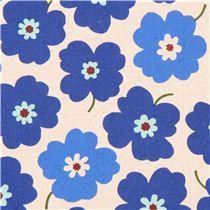 naturfarbener Blumen blaue Blüten Canvas Stoff aus Japan