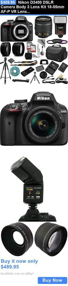 photo and video: Nikon D3400 Dslr Camera Body 3 Lens Kit 18-55Mm Af-P Vr Lens + 32Gb Best Value BUY IT NOW ONLY: $489.95