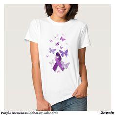 Purple Awareness Ribbon T-shirt #lupus #fibromyalgia #alzheimers #epilepsy…