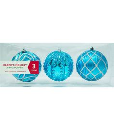 Maker's Holiday 3pk Shatterproof Ornaments-Turquoise/Silver