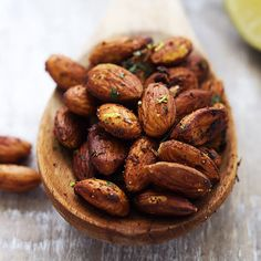 Chili lime almonds - Crunchy pan-toasted almonds with hints of spicy chili and zesty lime - these are positively addictive! So quick, easy, and healthy too!