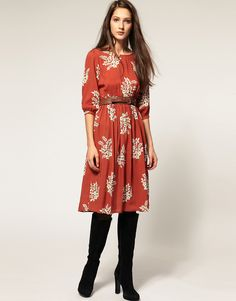 i love fall dresses...but this outfit needs brown boots.
