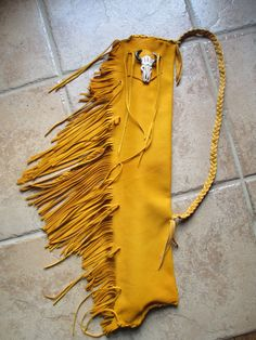 Flute Pipe or Drum Stick Bag of Gold Deerskin by SkywalkerFlutes