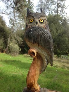 Chainsaw Carved OwlHand Carved Great Horned OWL Wood by RCWaitsArt