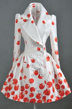 Double Breasted White Coat with Cherry Print #white-rosy-coat