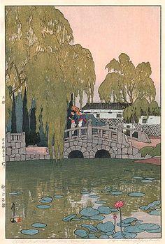 Willow and Stone Bridge  by Hiroshi Yoshida, 1926