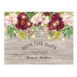 Rustic Fall Burgundy Flowers Save the Date Postcard #weddinginspiration #wedding #weddinginvitions #weddingideas #bride