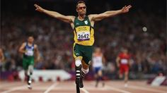 Paralympic superstar Oscar Pistorius was charged Thursday with the murder of his girlfriend who was shot inside his home in South Africa, a stunning development in the life of a national hero known as the Blade Runner for his high-tech artificial legs. Oscar Pistorius, Olympic Games Sports, Olympic Gymnastics, Gymnastics Quotes, 400m, South African Flag, Women's Shooting, Jordyn Wieber, Sports Figures