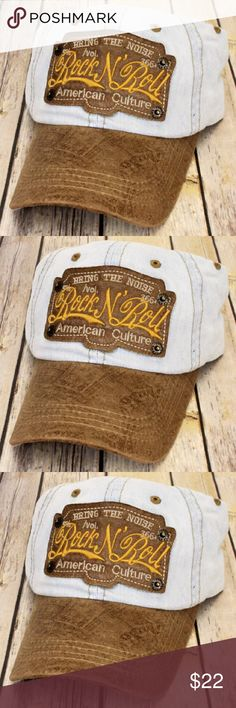 8b4c5ae2bcd Rock N  Roll Ball Cap Tan Distressed Ball Cap Leather Like Bill and Logo ✨