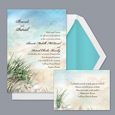 You can almost hear the sea breeze blowing through the beautiful painting of beach grass, sand and shells on this invitation. Perfect for your seaside or beach-themed #wedding! Style DB9855I6N: http://bit.ly/wNviVE
