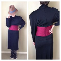 Vintage 70s black knit high neck dress / goth by CrystalsCloset74