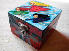 Painted Girls/Sisters Wooden Art Trinket by GraceWatsonArt on Etsy