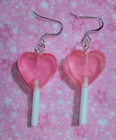 Candy Pink Dangle Heart Mini Lollipop Earrings on Etsy, $6.50