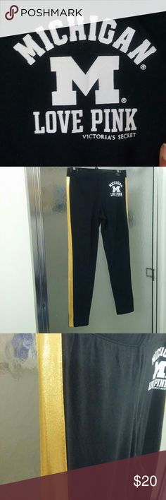 PINK by Victoria's Secret with 5th&Ocean Clothing Michigan themed leggings with gold stripe down both sides. Gently worn. PINK Victoria's Secret Pants Leggings