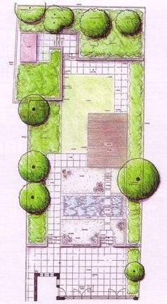 Garden plan drawing with an 'L' shaped lawn as one of several ground textures.