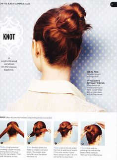 Hair Knot  I always have people try to tie my hair in a knot but I don't think this is what they are trying to achieve.  :)