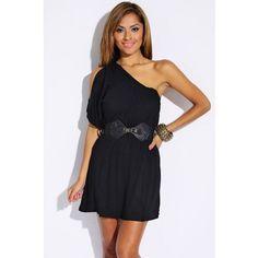 black cold shoulder belted summer mini dress